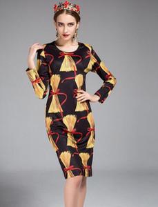 2017 passarela com os modelos das mulheres runway manga longa dress moda impressão slim reta dress elegante pacote retro hip saia