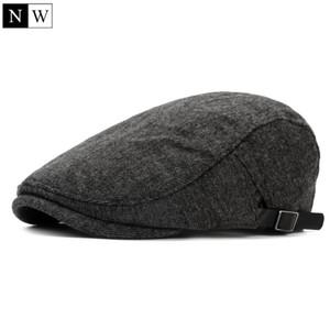 Gros-2016 Laine Vintage solide Beret hommes Os plat Cap Chapeaux d'hiver pour hommes Chapeau Bérets Femme Newsboy Casquette Bérets femmes
