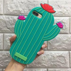 Divertida del día soleado 3D Cactus caja del teléfono de TPU Capa de caucho de silicona para Iphone 6 6s 6 Plus 7 7plus de dibujos animados de la contraportada