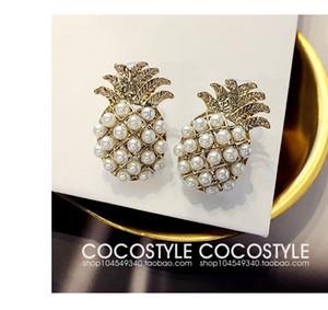 Estate stile 2017 Design Fashion color oro perla carino ananas orecchini per le donne ragazza frutta orecchini gioielli regalo
