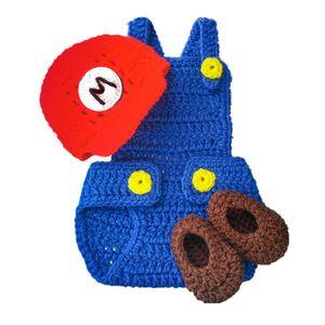 Super Mario Baby Costume، اليدوية الكروشيه بيبي بوي فتاة الأحمر كارتون ماريو قبعة كاب ، غطاء حفاضات ، مجموعة الأحذية ، الرضع طفل التصوير دعامة
