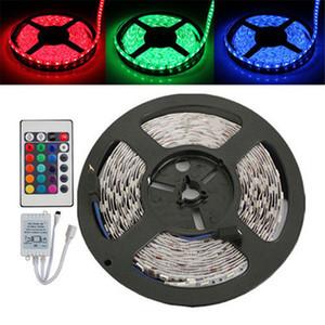5 м RGB светодиодные полосы света гибкие 3528 SMD номера водонепроницаемый DC 12 В + ИК пульт дистанционного управления + 2a питания этап партии лампы рождественские подарки