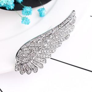 Vente chaude Noir En Métal Ange ailes Broches Bijoux Vintage Simulted Bouquet De Perles Broche Femmes épingles De Sûreté Accessoires