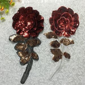 20 pcs Glitter 3D Patch Para Roupas Rosa Flor Lantejoulas Patches parches ropa Tecido Bordado Patchwork Camisa Vestido Apliques Acessórios