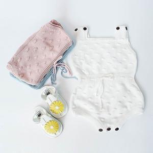 Retail Neugeborene Kleinkinder Kinder Baby Gestrickte Baumwolle Bodysuits Strampler Frühling Herbst Overall Overalls Kleinkind Kleidung 0-18m EG004