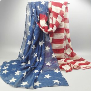 Oversized Oblong Style Vintage 100% Viscose American Flag Scarf Women USA Flag Shawls and Scarves SFJ001