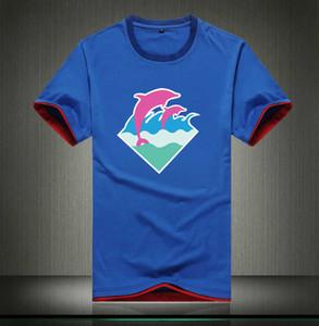 Q650 frete grátis Pink Dolphin T-shirt respirável Vestuário Solid Color Slim Fit Homens de algodão encabeça Casual