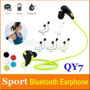 Deporte Bluetooth Auriculares Copia QY7 Auriculares estéreo inalámbricos Mini auriculares Bluetooth con micrófono manos libres para iPhone 7 Plus con caja de venta al por menor