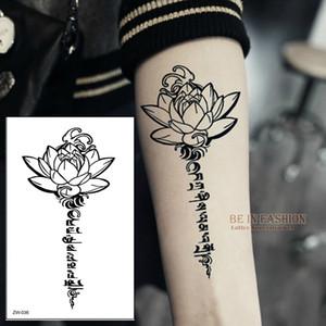 Venta al por mayor- Buda Lotus diseña letras de tatuajes temporales palabra sánscrita tibetana tatuajes espalda henna pierna cintura brazo hombro impermeable ZW036