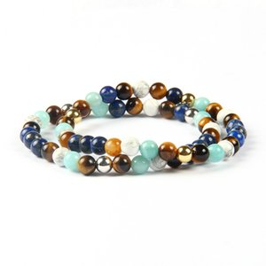 Venta al por mayor Summer Wrap-Around Jewelry 6mm Real Plated Copper Beads And Natural Mix Colors Stone Beaded Elastic Bracelet