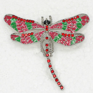 12pcs lot Wholesale Crystal Rhinestone Enameling Dragonfly Brooch Fashion Costume Pin Brooch C180