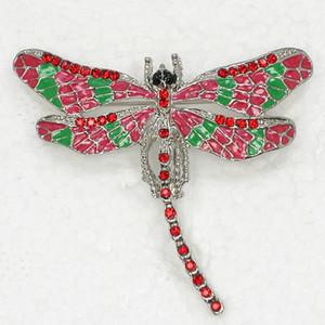 12 pçs / lote atacado cristal Rhinestone Enameling Dragonfly broche Fashion Costume Pin broche C180