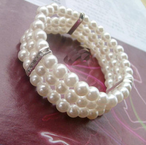 Multi Layer Crystal Pearl Tennis Bracelet Luxury Women Pearl Barcelet Bridal Wedding Jewelry Bangles for party