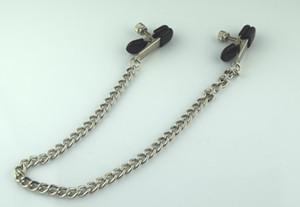 Envío gratis nuevo adulto BDSM Sex Toy fantasía pinzas abrazaderas con anillo con cadena Fetish Metal plata para mujeres