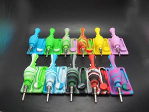 베스트 셀러! 색상 휴대용 물 담뱃대, 실리콘 연기 파이프, 금속 티타늄 꽃병, 실리콘 봉, 깨지지 않는 물 담뱃대 필터