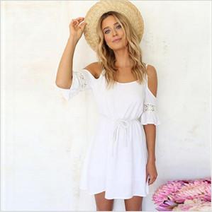 섹시한 Strapless 레이스 치마 하얀 해변 슬링 단어 짧은 걸이 꽃 중공 드레스 2017 여름 새로운 ouc256