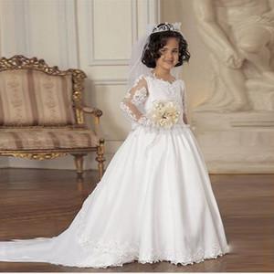 Adorável Moda Lace Branco Applique Manga Comprida Flor Meninas Vestidos A Linha Primeira Comunhão Vestidos Crianças Frock Designs Formal Wear