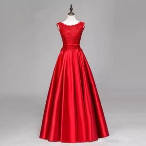 페르시 395 새틴 긴 이브닝 드레스 레이스 아플리케가 2019 우아한 층 길이 이브닝 가운 빨간색 공식 드레스