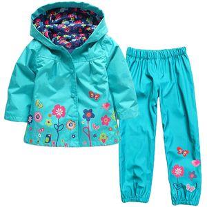الخريف بالجملة، بدلة أطفال الربيع (هوديي + السراويل) الأولاد هوديس الأطفال دعوى الاطفال معطف سترة فتاة الملابس معطف واق من المطر مجموعة ملابس الفتيات