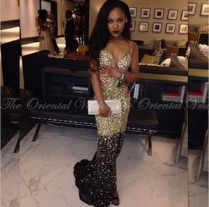Shiny Ouro e Preto de Cristal Frisada Sereia Vestidos de Baile 2017 Africano Sexy Cintas de Espaguete Lado Dividir Longo Vestido de Festa À Noite