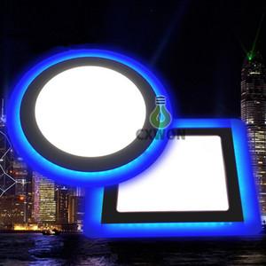 couleurs double panneau LED mince bleu + allume froid / chaud LED blanc encastré Plafonnier Rond Carré Acrylique 85-265V Décoration intérieure 9W 16W 24W