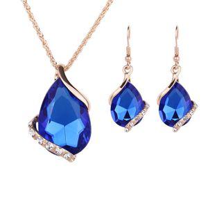 Nouveaux ensembles de bijoux Couleur or Cristal Blanc / Rouge / Bleu / Noir 5 couleurs créées Dia Waterdrop Collier Boucles d'oreilles Cadeau