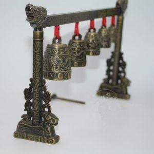 Méditation Gong avec 5 Fleuri Bell con Dragon Conception Chinois Instrument de musique