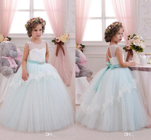 2017 New Pretty Mint Tulle Avorio Tulle Flower Girl Dresses Compleanno Wedding Party abiti da prima comunione per ragazze BA3107 economici