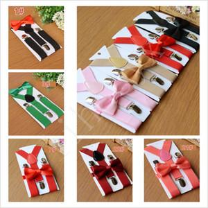 Venda quente 27colors Kids Suspenders Bow Laço Conjunto para 1-10T Baby Braces Elastic Y-Back Meninos Meninas Suspenders Acessórios BD03