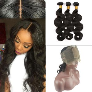 Pre Plecked Silk Base 360 ​​Front With Hair Bundles 실크 탑 4x4 360 정면 폐쇄로 Brazlian Virgin 바디 웨이브 헤어 위사