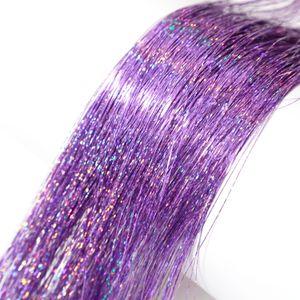 Neitsi 35inch L-Purple # 800 strands / pack Straight Tinsel Hair Extension Brillo Brillante Twinkle Accesorios para el cabello para mujer Fiesta Cosplay