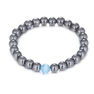 Новая мода камень бусины браслеты краткое ювелирные изделия с белый бирюзовый/тигровый глаз/гладкий серебряный 8 мм бусины для мужчин женщин