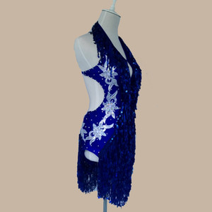 2020 Adult Child Latin Dance Costume Sexy Royal Blue Sequins Latin Dance Competition Dress For Women Child Latin Dance Dresses S-4XL