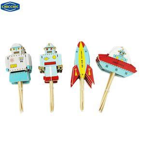 Al por mayor [CHICCHIC] 24pcs un conjunto Aerospace Robots dirigible Estrellas Volantes Estilo Primeros de la magdalena de la torta Selecciones Decoración con palillos de dientes QH0017