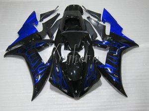 Yamaha YZF R1 02 03 için en çok satan plastik kaporta kiti mavi alevler siyah fairings seti YZF R1 2002 2003 OI52