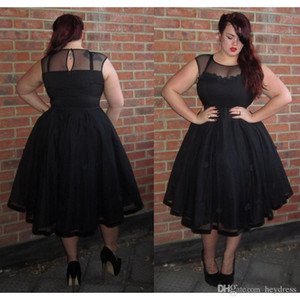 Schwarz Plus Size Prom Kleider 2017 Tee Länge Besondere Anlässe Party Kleid Eine Linie Tüll Abendkleider Für Frauen