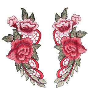 1 PC / 1 Paire Rouge Broderie Rose Fleur Coudre Sur Patch Badge Sac Chapeau Jeans Robe Applique Artisanat Vêtements Accessoires