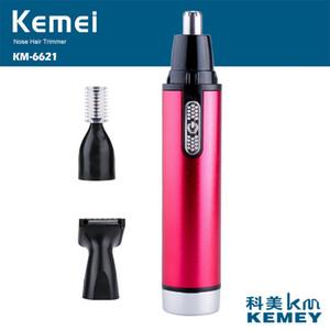 Kemei KM-6621 3 en 1 batería de la nariz y del oído del condensador de ajuste del pelo de los hombres Trimer Por Patillas corte del pelo de la ceja del condensador de ajuste para hombres y mujeres