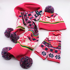 Jacquard Beanies Kit Schal Handschuhe Hut Set dreiteilige Winter Kinder Schal Hut zweiteilige Kinder 2-7Y Winter Hüte