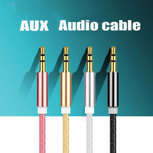 1M Aluminum Alloy Gold Plated Plug 3.5mm Aux Cable Male to Male Audio Cable for Car MP3   MP4 Headphone Speaker