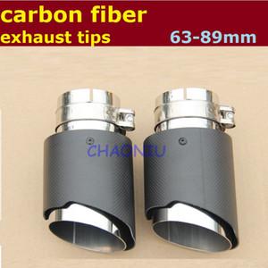 10 PCS 63mm Admission 89mm Sortie carbone embout d'échappement pointe En Fiber De Carbone De Voiture Tuyau D'échappement Queue Silencieux Astuce