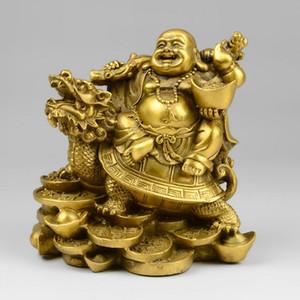 Colección Wealth Money Happy Laugh Maitreya Buddha Copper Dragon Turtle Statue