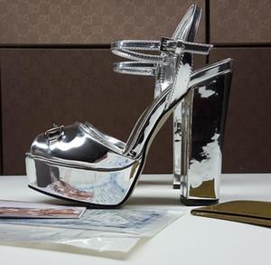 Designer Shoes Estate cuoio di marca donna di metallo Piattaforma Sandali Chunky Tacchi alti gladiatore sandalo Superstar Zapatos Mujer 2019