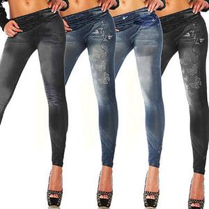 Atacado- New Womens Leggings Jeggings Womens Moda Denim Look Fit Tamanho 6 8 10 12