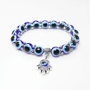 Moda Turquia Evil Eye Bracelets Resinas Beads Shamballa pingente Kabbalah mão frisado pulseira pulseira charme jóias presentes venda quente
