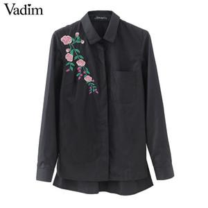 Frauen Retro-Blumen-Stickerei gestreiften Bluse Langarm schwarz Shirts drehen unten Kragen Marke Damen Tops Blusas LT1511