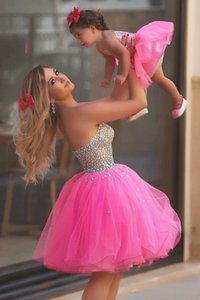 Fuchsia Short Mother Daughter Dress Per Bithday Party Sweetheart Crystal Parenting Dress Bambini e abiti da donna Usura Prom
