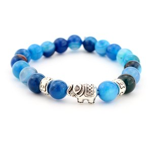 2017 new agate Lava rock Beads Bracelet New Fashion silver Plated elephant Bangles Black Lava Stone Buddha Beads Bracelets