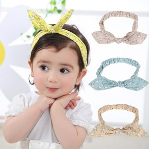 4 Colors New Arrival Fashion Bowknot Printed Rabbit Ear Headband Carton Floral Hairband Rabbit Ears Girls Lovely Baby Hair Accessories
