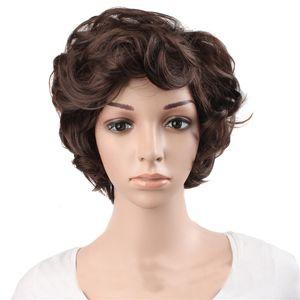 """12 """"kısa kıvırcık peruk koyu siyah kahverengi Gümüş gri 6 stilleri Kadın Peruk Sentetik saç Isıya Dayanıklı"""
